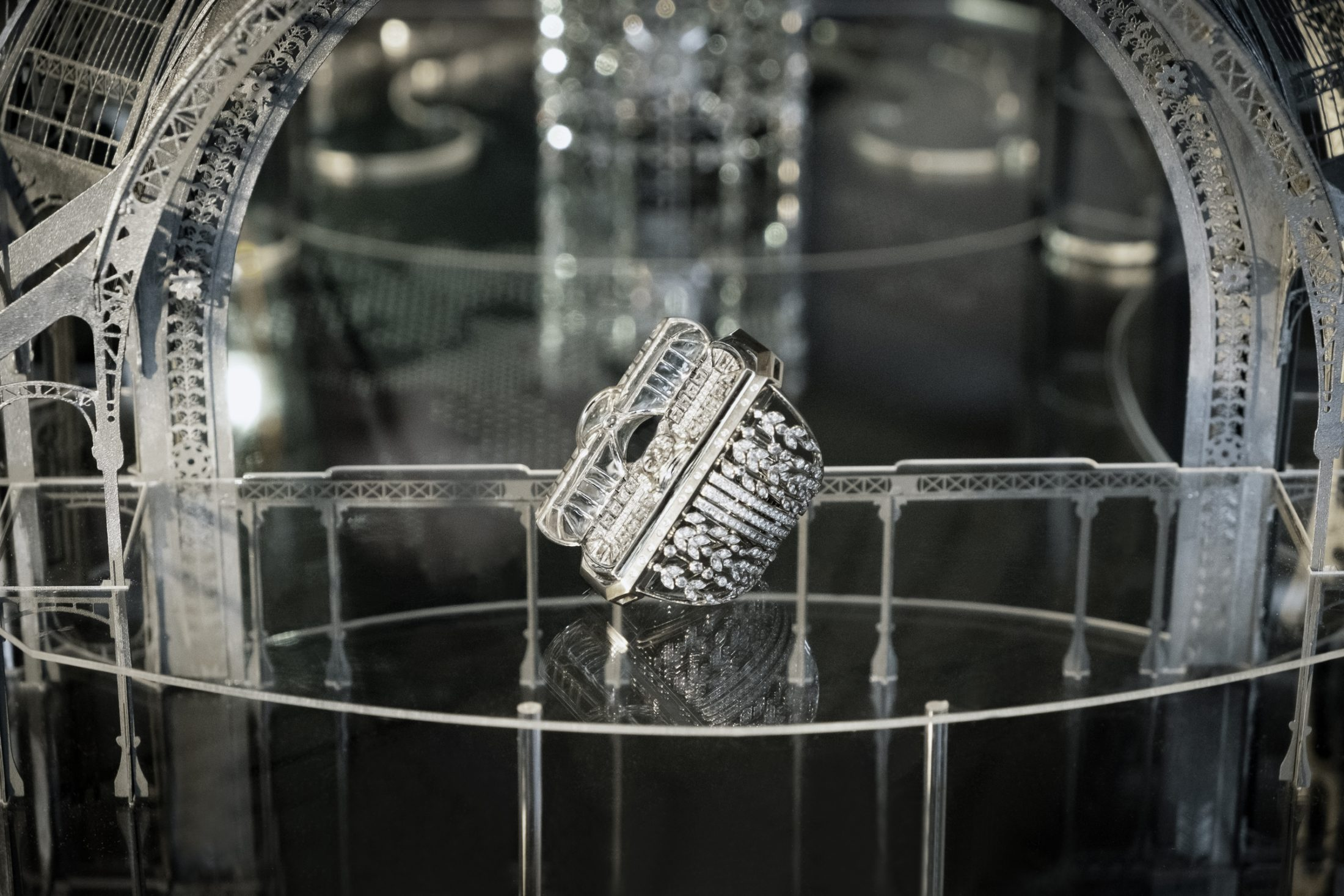The Glass Roof Ring staged in a 1/250th scale model of the Grand Palais - Irène - Paris - High Jewellery - Architecture - Scenography